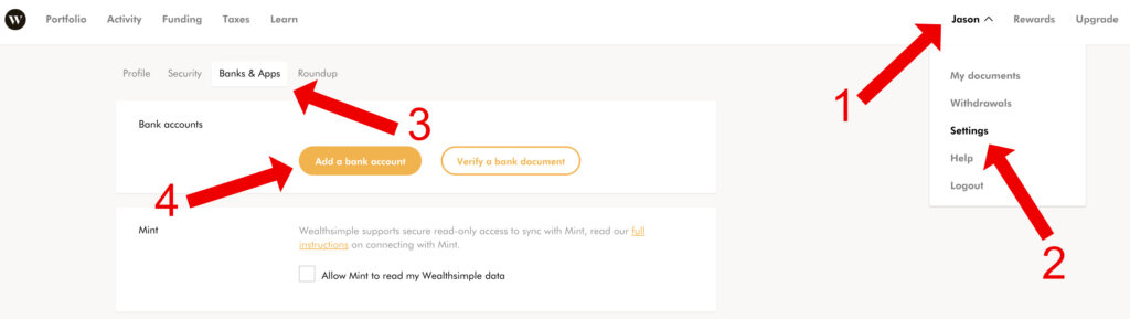 make money while you sleep wealthsimple funding your account adding bank account