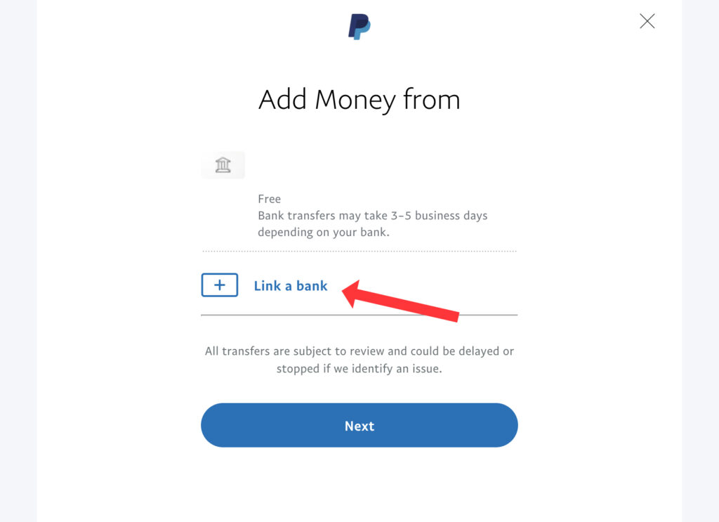 add money to paypal account step 2 bank account